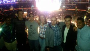 Hayward Gray, Levi Galeski, Ali Badiee, Marta Martin/CPMCA, Manny Payan, Eric Chu and LeQuan Hobson attend a Lakers game @ Staples Center.